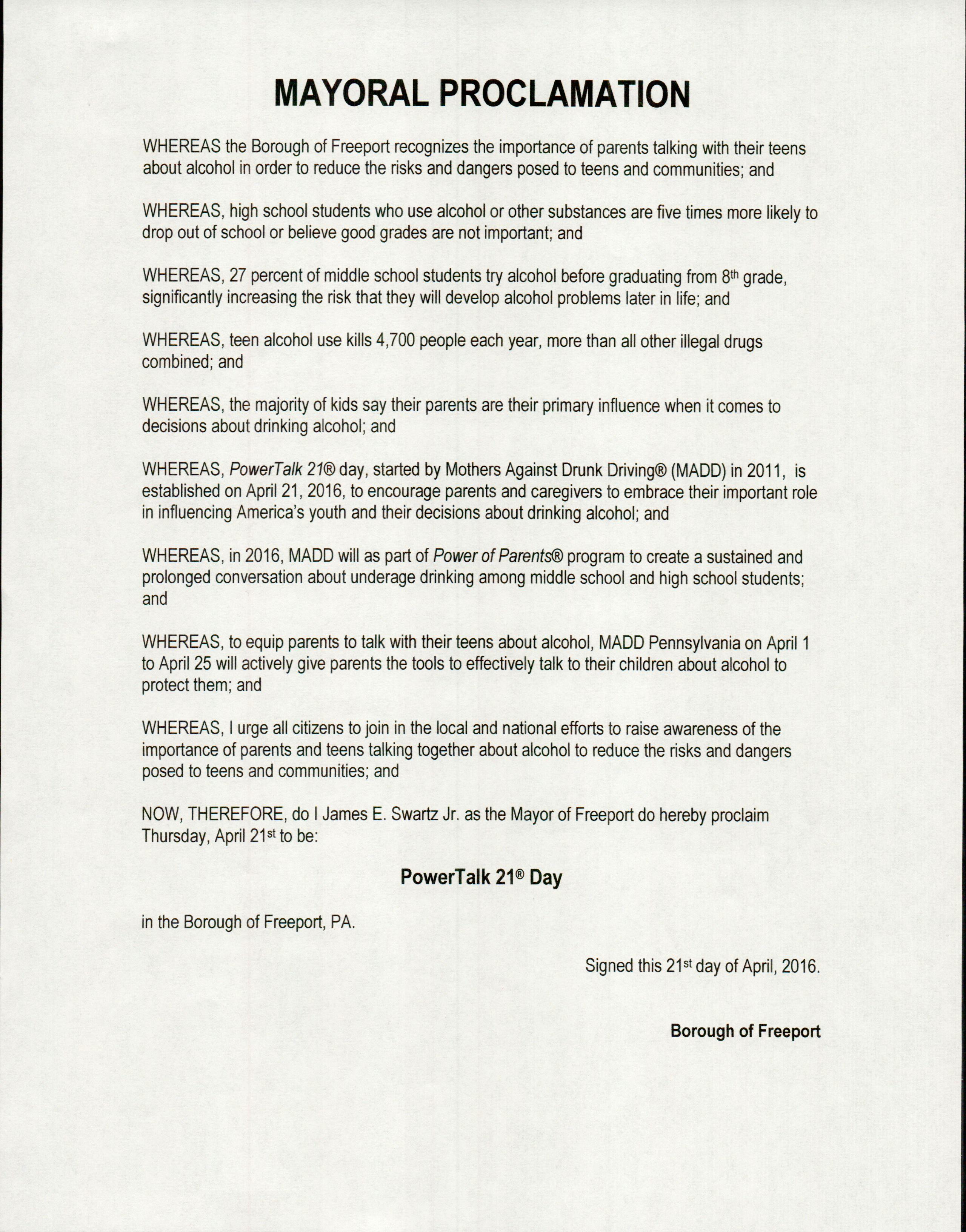 Mayoral Proclamation
